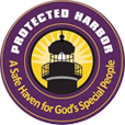 Protected Harbor logo: A purple circle with a black illustration of a lighthouse sending out a yellow beacon in the center. Around the perimeter it reads, A Safe Haven for God's Special People.